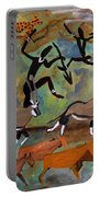 Hunters And Gemsbok Rock Art Portable Battery Charger