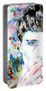 Ian Curtis Smoking Cigarette Watercolor Portrait Portable Battery Charger