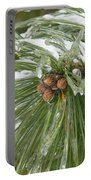 Iced Over Pine Cones Portable Battery Charger