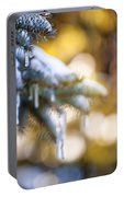 Icicles On Fir Tree In Winter Portable Battery Charger