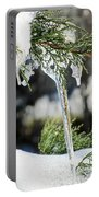 Icicles On Juniper Branch Portable Battery Charger