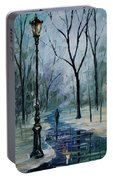 Icy Path - Palette Knife Oil Painting On Canvas By Leonid Afremov Portable Battery Charger