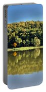 Idyllic Autumn Reflections On Lake Surface Portable Battery Charger