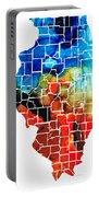 Illinois - Map Counties By Sharon Cummings Portable Battery Charger