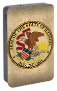 Illinois State Flag Art On Worn Canvas Portable Battery Charger