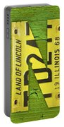 Illinois State Name License Plate Art Portable Battery Charger