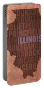 Illinois State Word Art On Canvas Portable Battery Charger