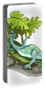 Illustration Of An Iguanodon Sunbathing Portable Battery Charger