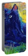 Impasto Black Cat Painting Portable Battery Charger