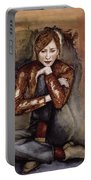 In Her World, 2005 Pen & Ink With Oil On Paper Portable Battery Charger