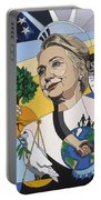 In Honor Of Hillary Clinton Portable Battery Charger by Konni Jensen