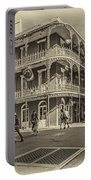 In The French Quarter Sepia Portable Battery Charger