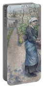 In The Garden At Pontoise A Young Woman Portable Battery Charger