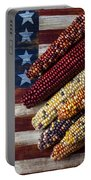 Indian Corn On American Flag Portable Battery Charger