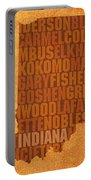 Indiana State Word Art On Canvas Portable Battery Charger by Design Turnpike