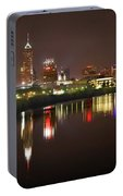 Indianapolis Skyline At Night Indy Downtown Color Panorama Portable Battery Charger