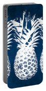 Indigo And White Pineapples Portable Battery Charger
