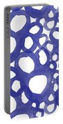 Indigo Bubbles- Contemporary Absrtract Watercolor Portable Battery Charger by Linda Woods
