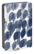 Indigo Rain- Abstract Blue And White Painting Portable Battery Charger