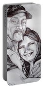 Ink Portrait Of My Father And I Portable Battery Charger
