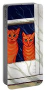 Orange Cats Looking Out Window Portable Battery Charger