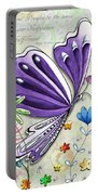 Inspirational Butterfly Flower Art Inspiring Quote Design By Megan Duncanson Portable Battery Charger