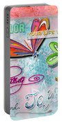 Inspirational Dragonfly Floral Art Colorful Uplifting Typography Art By Megan Duncanson Portable Battery Charger