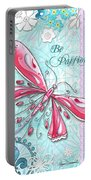 Inspirational Dragonfly Floral Art Inspiring Art Quote Be Passionate By Megan Duncanson Portable Battery Charger