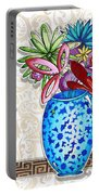 Inspirational Floral Dragonfly Painting Flower Vase With Quote By Megan Duncanson Portable Battery Charger