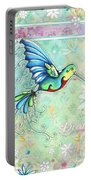 Inspirational Hummingbird Floral Flower Art Painting Dream Quote By Megan Duncanson Portable Battery Charger