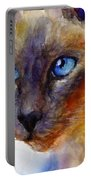 Intense Siamese Cat Painting Print 2 Portable Battery Charger by Svetlana Novikova