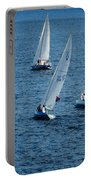Into The Wind - Crisp White Sails On Blue Portable Battery Charger