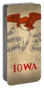 Iowa State Flag Art On Worn Canvas Portable Battery Charger