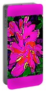 Iphone Cases Colorful Flowers Large Pink Roses Carnations Abstract Florals Carole Spandau Cbs Art185 Portable Battery Charger by Carole Spandau