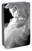 Iris Flower In Black And White Portable Battery Charger