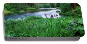 Iris Flowers By The Metolius River Portable Battery Charger