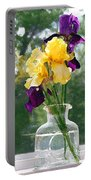 Iris Flowers On Windowsill Portable Battery Charger
