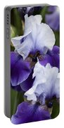 Iris Purple And White Fine Art Floral Photography Print As A Gift Portable Battery Charger