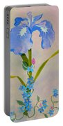 Iris With Forget Me Nots Portable Battery Charger