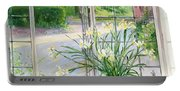 Irises And Sleeping Cat Portable Battery Charger