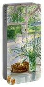 Irises And Sleeping Cat Portable Battery Charger by Timothy Easton