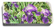 Irises In The Garden Portable Battery Charger