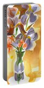 Irises With Stars Of Bethlehem Portable Battery Charger by Kip DeVore