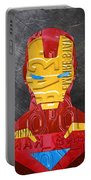 Iron Man Superhero Vintage Recycled License Plate Art Portrait Portable Battery Charger