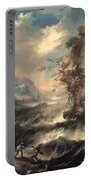 Italian Seascape With Rocks And Figures Portable Battery Charger by Marco Ricci