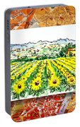 Italy Sketches Sunflowers Of Tuscany Portable Battery Charger