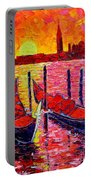 Italy - Venice Gondolas - Abstract Fiery Sunrise  Portable Battery Charger