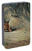 Fox - It's A Big World Out There Portable Battery Charger by Crista Forest
