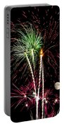 Its Raining Red Drops On The Red Flowers - Fireworks And Moon Portable Battery Charger