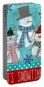 It's Snowtime Portable Battery Charger by Linda Woods